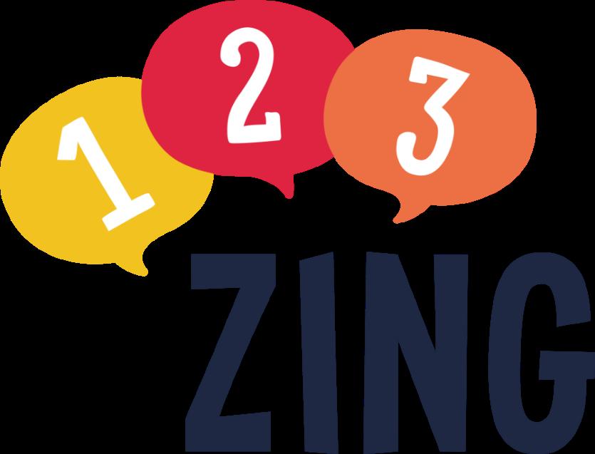 Het Logo van 123ZING met gekleurde cijfers ballonnen geel rood oranje