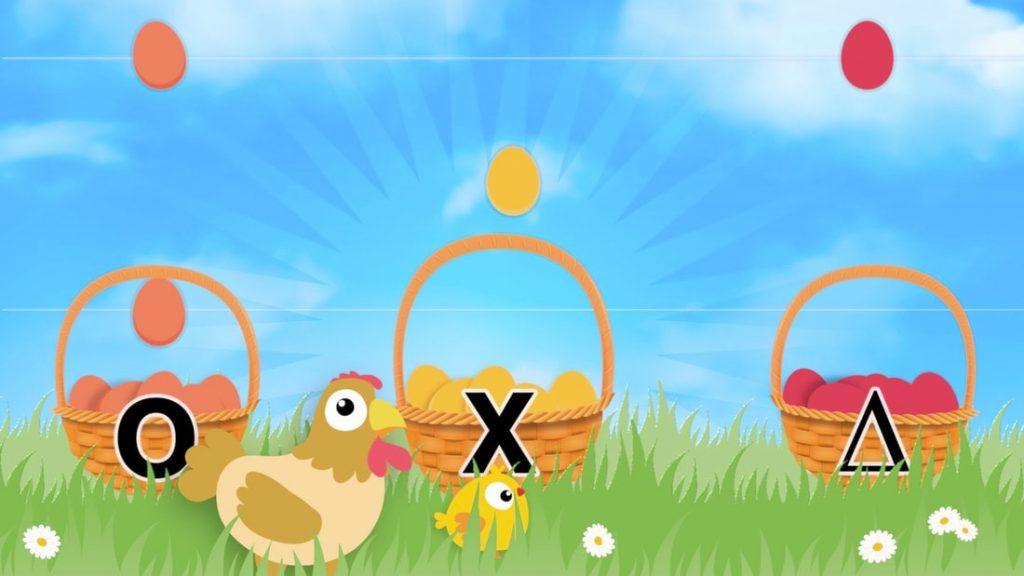 Meespelen met paaseieren iconen ritme instrumenten in mandjes met kip en kuiken