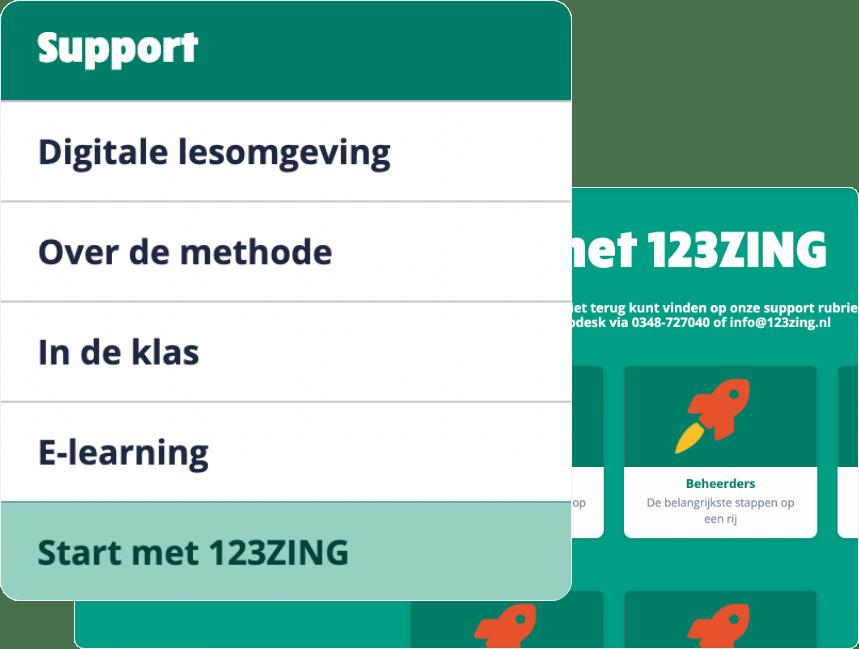 Support menu met digitale lesomgeving methode klas e-learning en hoe te starten