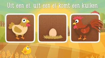 Lied kip en ei Pasen met afbeeldingen van een kip haan ei en kuiken