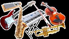 Melodische instrumenten gitaar saxofoon trompet viool keyboard xylofoon