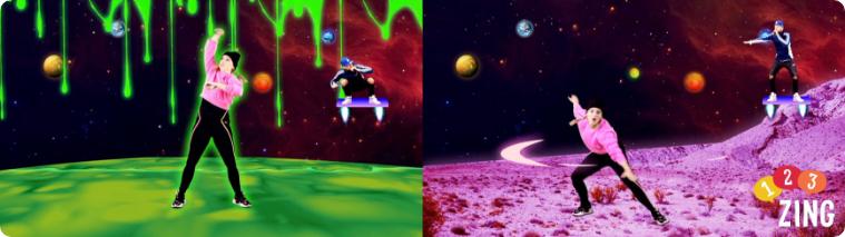 Power up planet hopping energizer op plakplaneet en zweefplanet Kirsten en Rudebeats