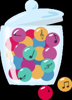 Snoep pot gevuld met gekleurde muzieknoten ballen