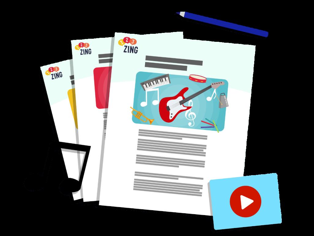 123ZING formulieren met muziekinstrumenten en muzieknoten