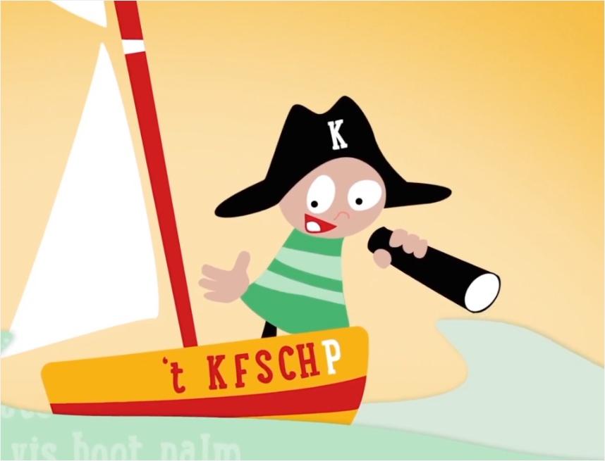 Kaptein kof in een boot in de zee met verrekijker en hoed