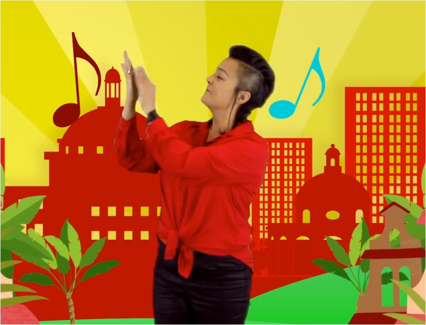 123ZING trainer Cassandra in de handen klappen muzieknoten in een getekende stad