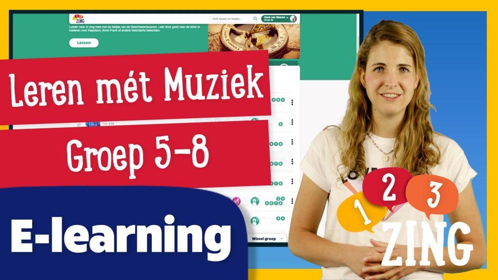 Thumbnail van e-learning leren met muziek 5-8 123zing