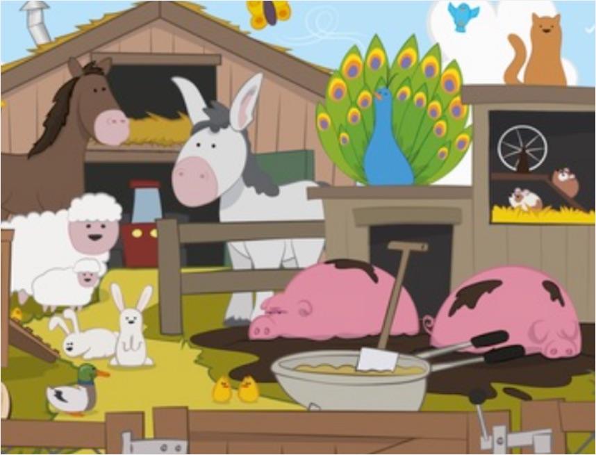 geïllustreerde afbeelding van een boerderij voor de kleuterthema's